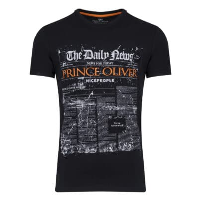 Prince Oliver T-Shirt Μαύρο με Στάμπα Daily News- Collection A/W- Collection A/W