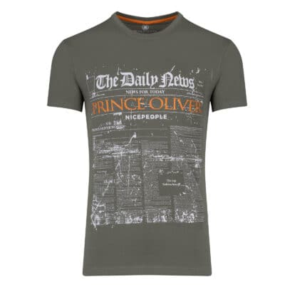 Prince Oliver T-Shirt Λαδί με Στάμπα Daily News - Collection A/W