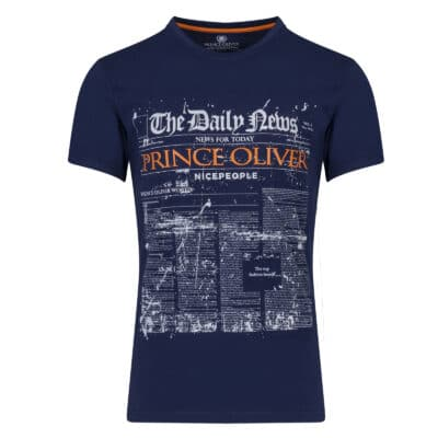 Prince Oliver T-Shirt Μπλε Σκούρο με Στάμπα Daily News - Collection A/W