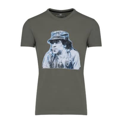 Prince Oliver T-Shirt Λαδί με Στάμπα Maradona 100% Cotton - Collection A/W