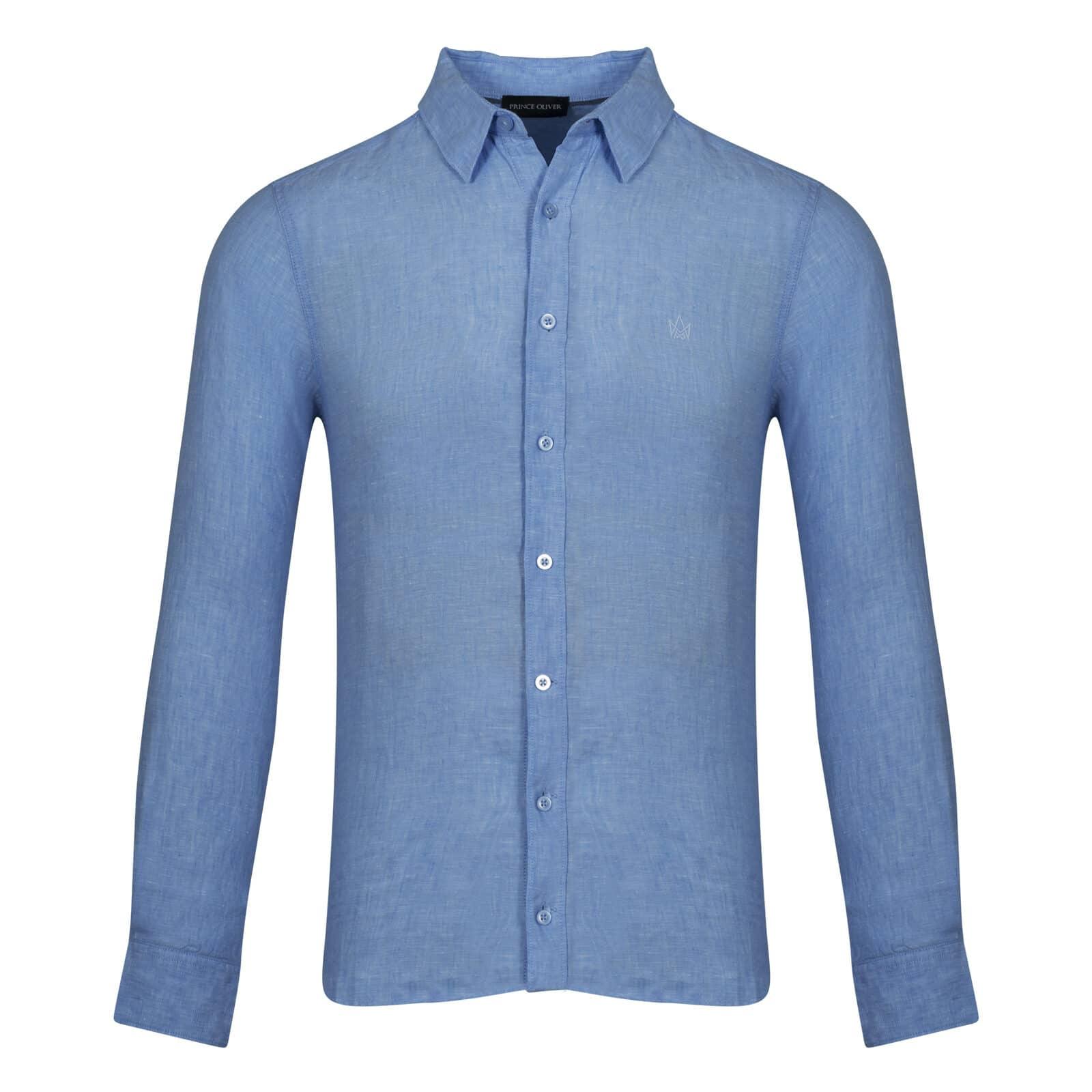eec02ea177b Prince Oliver Πουκάμισο Μπλε 100% Linen - Collection S/S