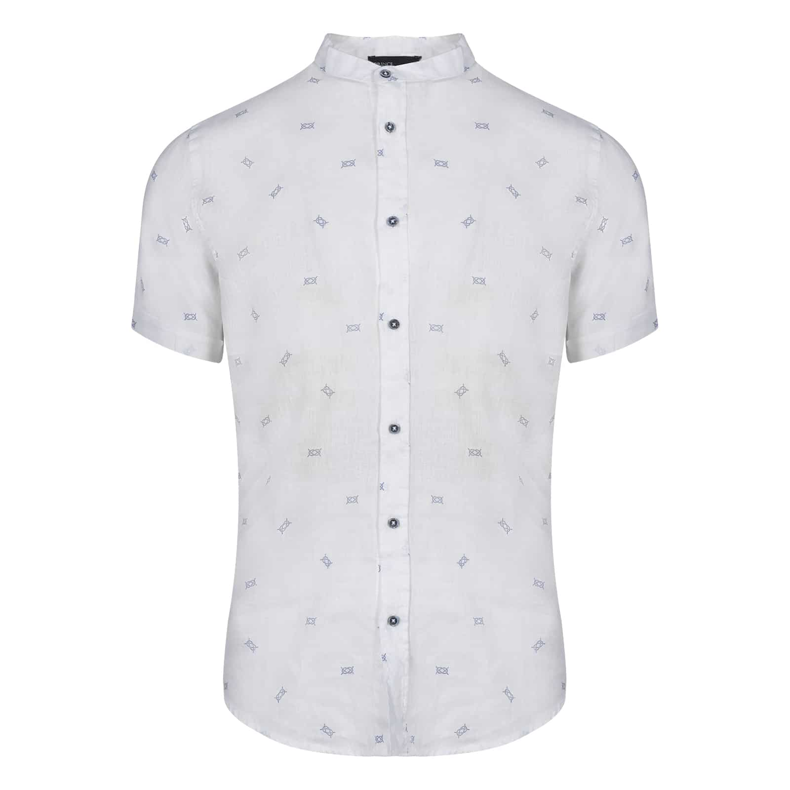 fe778e0aedc Prince Oliver Πουκάμισο Λευκό με Mao Γιακά 100% Linen - Collection S/S